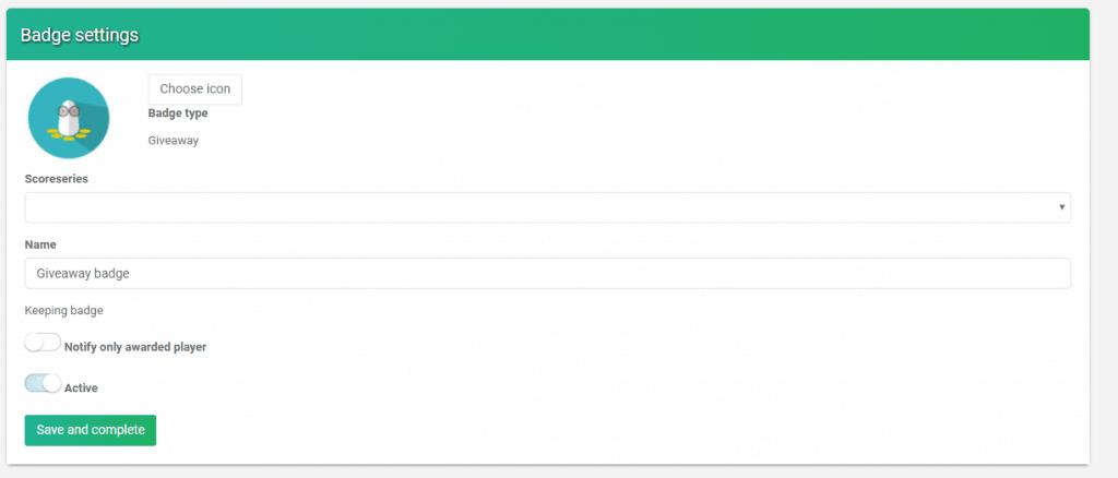 Giveaway settings