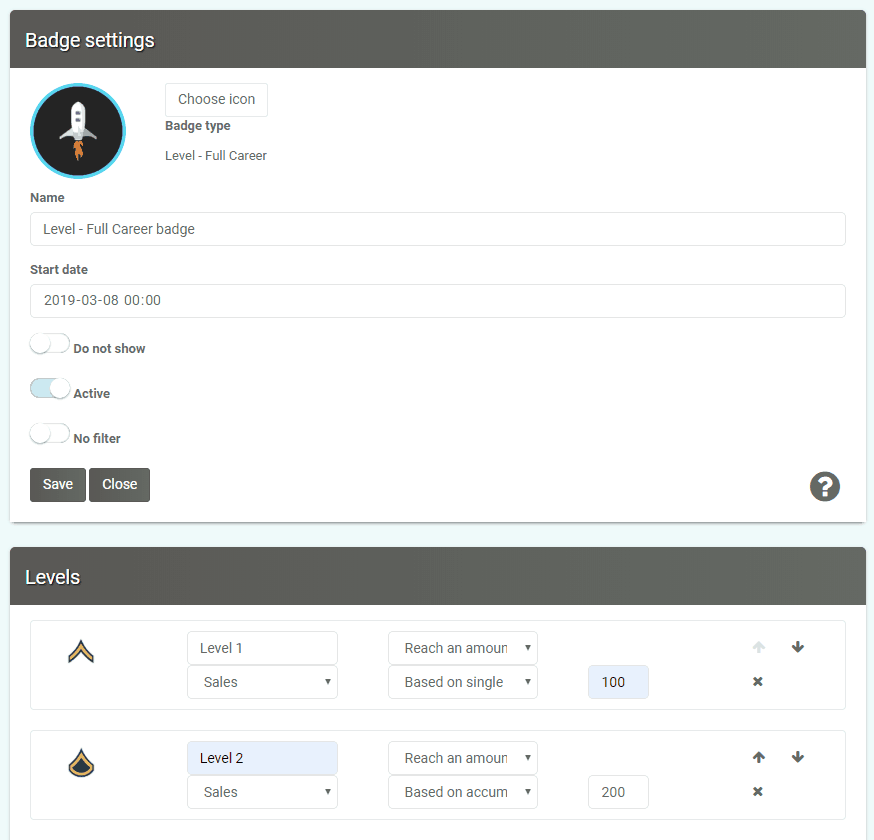 Level up badge settings