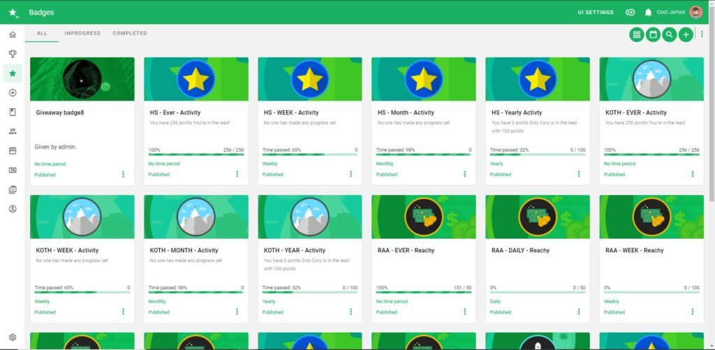 Badge gamification page